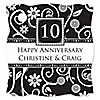 Modern Floral Black & White - Any Year  - Personalized Wedding Anniversary Tags - 20 ct