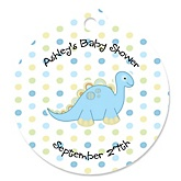 Baby Boy Dinosaur - Round Personalized Party Tags - 20 ct