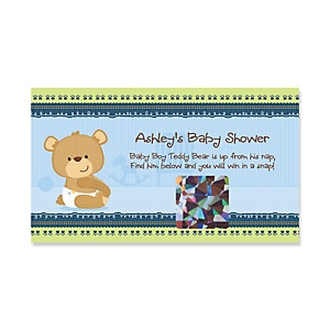 Baby Boy Teddy Bear - Personalized Baby Shower Game Scratch Off Cards - 22 ct