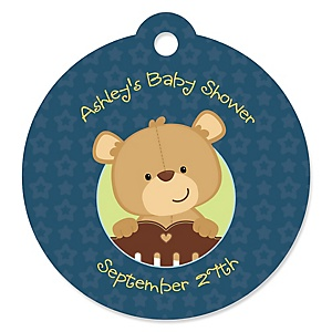 Baby Boy Teddy Bear - Personalized Baby Shower Round Tags - 20 Count
