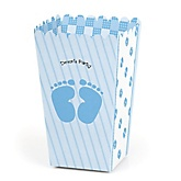 Baby Feet Blue - Personalized Baby Shower Popcorn Favor Boxes