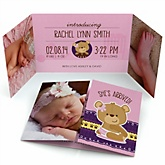 Baby Girl Teddy Bear - Photo Birth Announcements