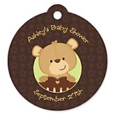 Baby Teddy Bear - Round Personalized Baby Shower Die-Cut Tags - 20 ct