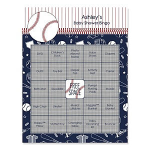 Batter Up - Baseball - Bingo Personalized Baby Shower Games - 16 Count