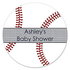 Batter Up - Baseball - Personalized Baby Shower Sticker Labels - 24 ct