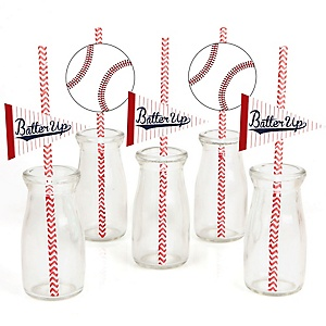 Batter Up - Baseball - Paper Straw Decor - Baby Shower or Birthday Party Striped Decorative Straws - Set of 24