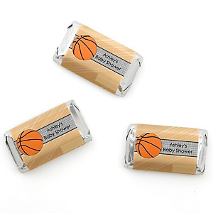 Nothin' But Net - Basketball - Personalized Baby Shower Mini Candy Bar Wrapper Favors - 20 ct