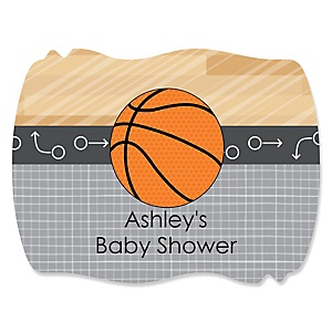 Nothin' But Net - Basketball - Personalized Baby Shower Squiggle Sticker Labels - 16 Count