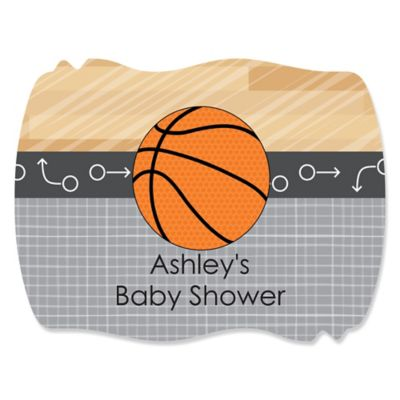 Nothinu0027 But Net   Basketball   Personalized Baby Shower Squiggle Stickers    16 Ct