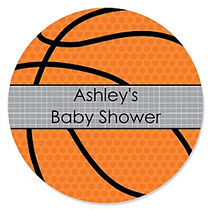 Nothin' But Net - Basketball - Personalized Baby Shower Round Sticker Labels - 24 Count