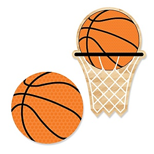 Nothin' But Net - Basketball - Shaped Baby Shower Paper Cut-Outs - 24 Count