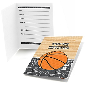 Nothin' But Net - Basketball - Fill In Baby Shower Invitations - Set of  8