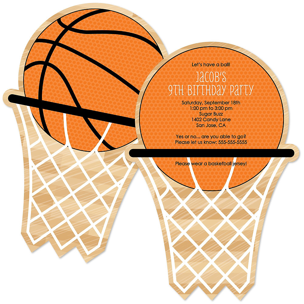 nothin' but net  basketball  personalized birthday party, party invitations