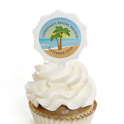 Beach - Personalized Bridal Shower Cupcake Pick and Sticker Kit - 12 ct