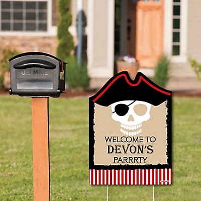 Beware of Pirates - Party Decorations - Pirate Birthday Party Personalized Welcome Yard Sign