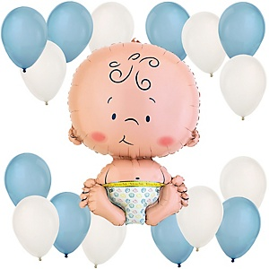 Boy - Blue and White Baby Shower Balloon Kit