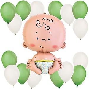 Baby - Green and White Baby Shower Balloon Kit