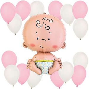 Girl - Pink and White Baby Shower Balloon Kit