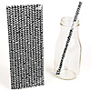Black Chevron Paper Straws - Baby Shower Do It Yourself - 25 ct