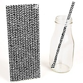 Black Chevron Paper Straws - Baby Shower Do It Yourself - 25 Count