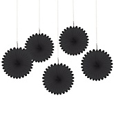 Black Mini Paper Rosette Fans - Baby Shower Decorations - Set of 5