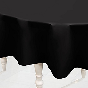 Black - Round Baby Shower Table Cover
