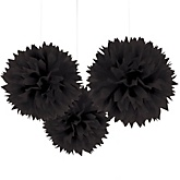 Black Tissue Paper Pom Poms - Baby Shower Decorations - Set of 3