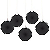 Black - Birthday Party Mini Paper Rosette Fans - 5 ct