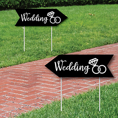 Black Wedding Signs - Wedding Sign Arrow - Double Sided Directional Yard Signs - Set of 2 Wedding Signs
