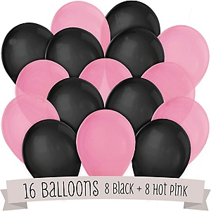 Hot Pink and Black - Baby Shower Balloon Kit - 16 Count