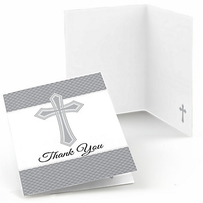 8 Christian cross wedding thank you card set