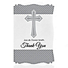 Delicate Blessings Cross - Personalized Baptism Thank You Cards