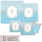 Little Miracle Boy Blue & Gray Cross - Baby Shower Tableware Bundle for 32 Guests