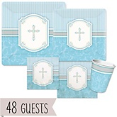 Little Miracle Boy Blue & Gray Cross - Baby Shower Tableware Bundle for 48 Guests
