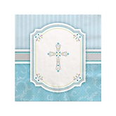 Little Miracle Boy Blue & Gray Cross - Baby Shower Beverage Napkins - 16 Pack
