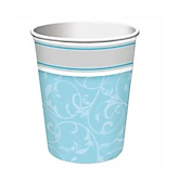 Little Miracle Boy Blue & Gray Cross - Baby Shower Hot/Cold Cups - 8 Pack