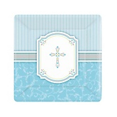 Little Miracle Boy Blue & Gray Cross - Baby Shower Dessert Plates - 8 Pack