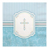 Little Miracle Boy Blue & Gray Cross - Baby Shower Luncheon Napkins - 16 Pack