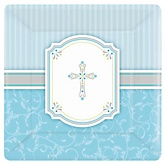 Little Miracle Boy Blue & Gray Cross - Baby Shower Dinner Plates - 8 Pack