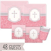 Little Miracle Girl Pink & Gray Cross - Baby Shower Tableware Bundle for 48 Guests