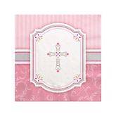Little Miracle Girl Pink & Gray Cross - Baby Shower Beverage Napkins - 16 Pack