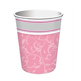 Little Miracle Girl Pink & Gray Cross - Baby Shower Hot/Cold Cups - 8 Pack