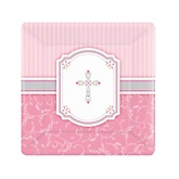 Little Miracle Girl Pink & Gray Cross - Baby Shower Dessert Plates - 8 Pack