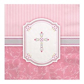 Little Miracle Girl Pink & Gray Cross - Baby Shower Luncheon Napkins - 16 Pack