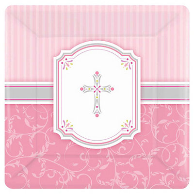 blessings pink baby shower dinner plates 8 ct bigdotofhappiness