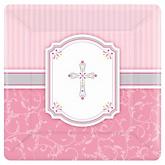Little Miracle Girl Pink & Gray Cross - Baby Shower Dinner Plates - 8 Pack