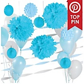 Light Blue and White Decoration Kit for Baby Showers
