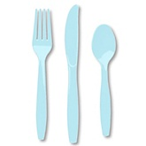 Blue - Baby Shower Forks, Knives, Spoons - 24 Count