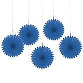Royal Blue Mini Paper Rosette Fans - Baby Shower Decorations - Set of 5