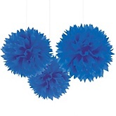 Royal Blue Tissue Paper Pom Poms - Baby Shower Decorations - Set of 3
